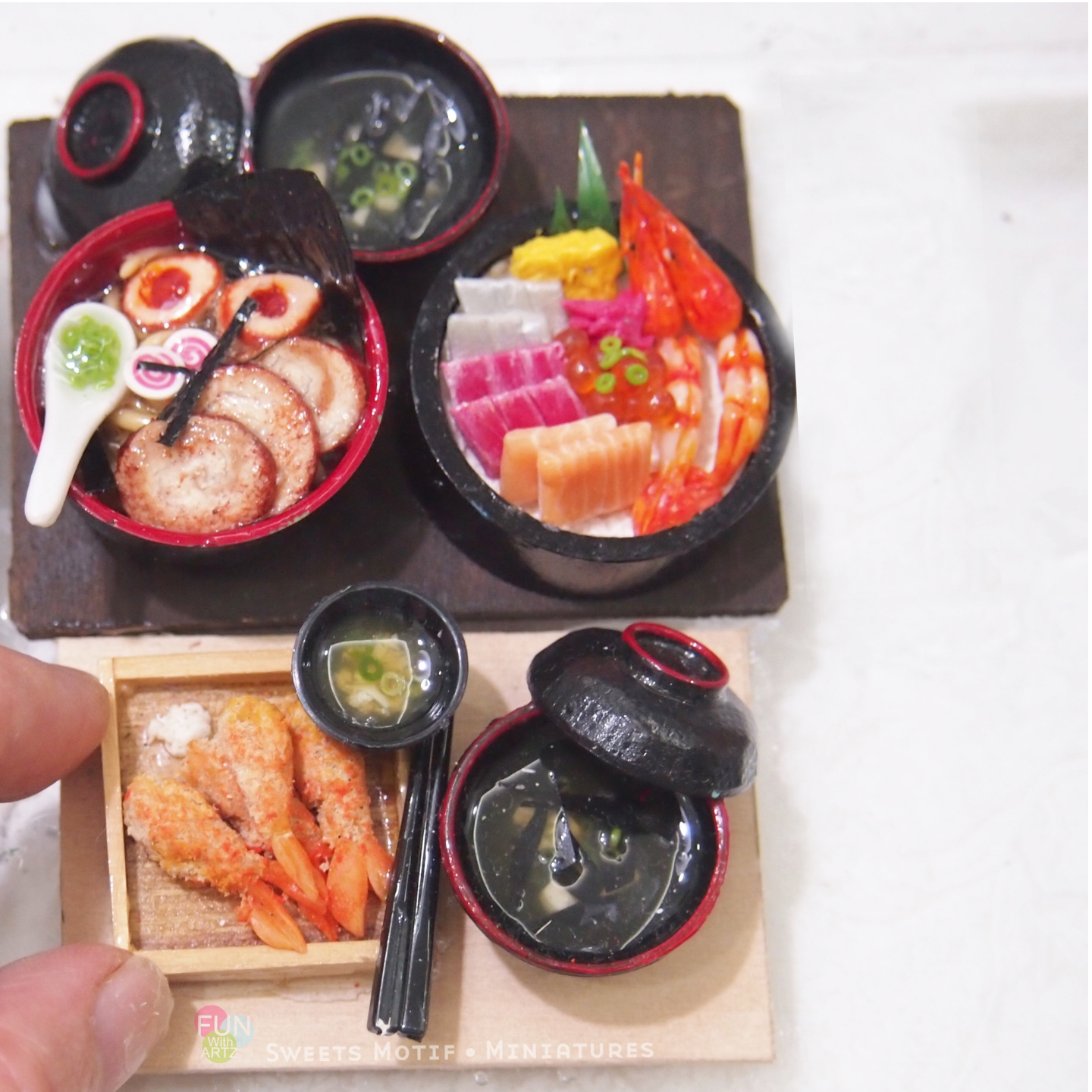 Dollhouse Display Miniature Food Chirashi Don Set