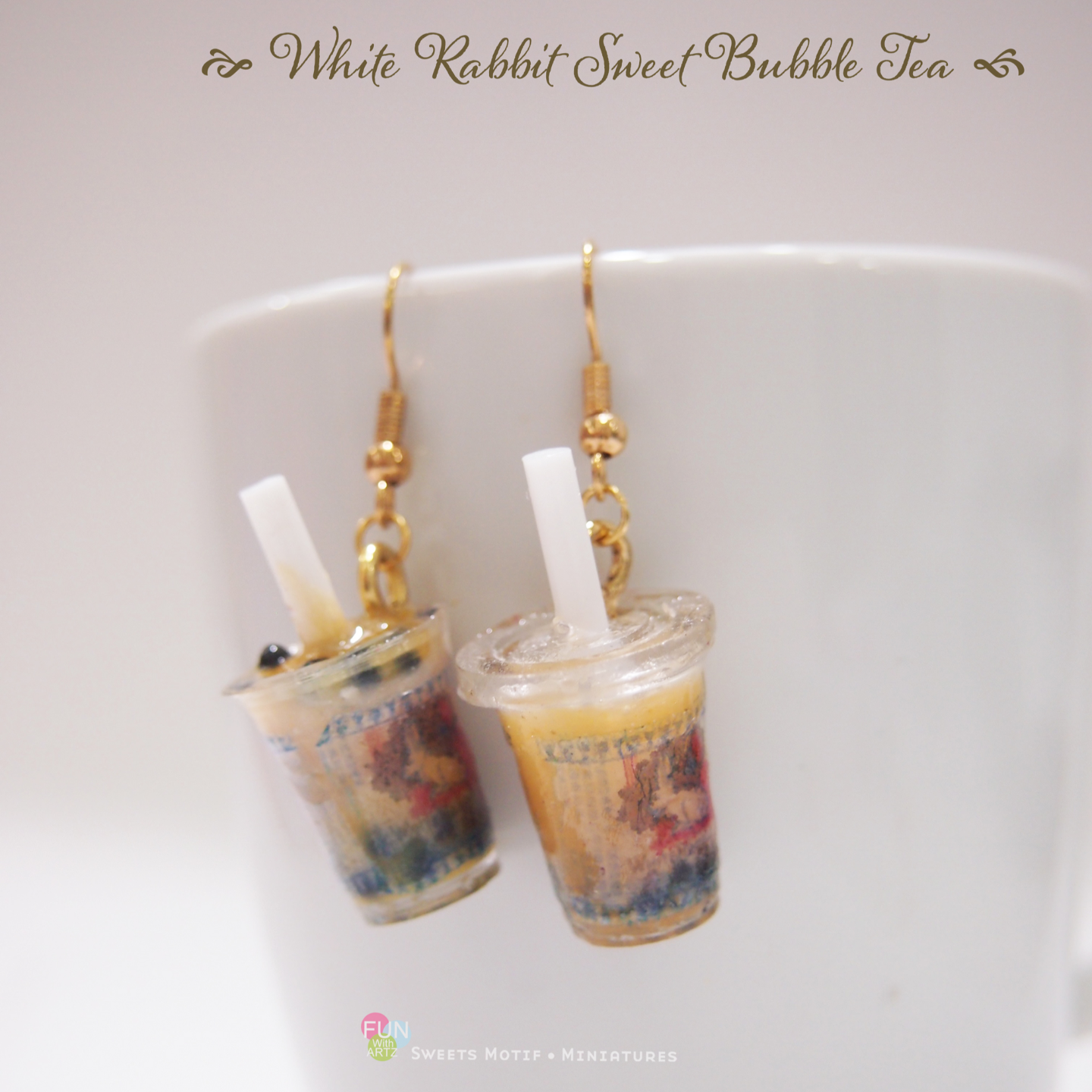 Bubble tea earrings / Boba tea earrings