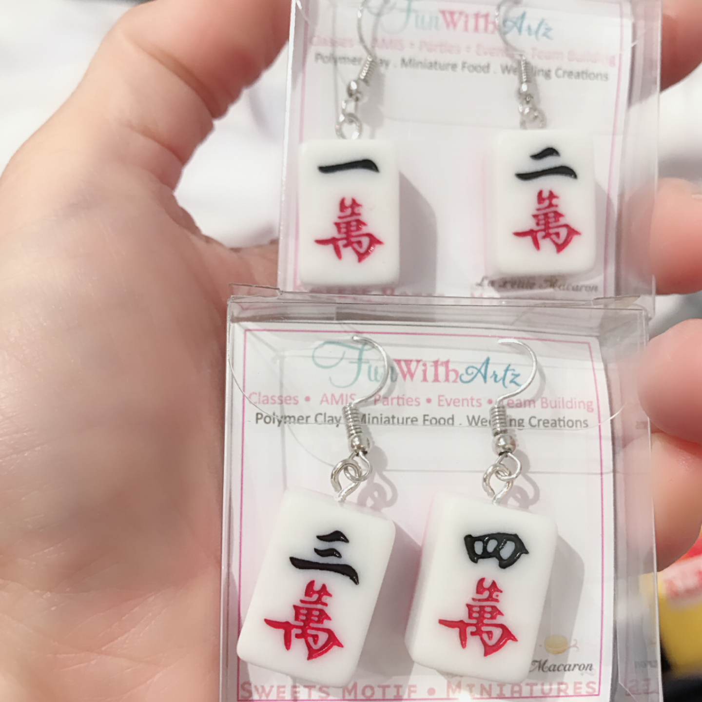 Mahjong yi er wan earrings