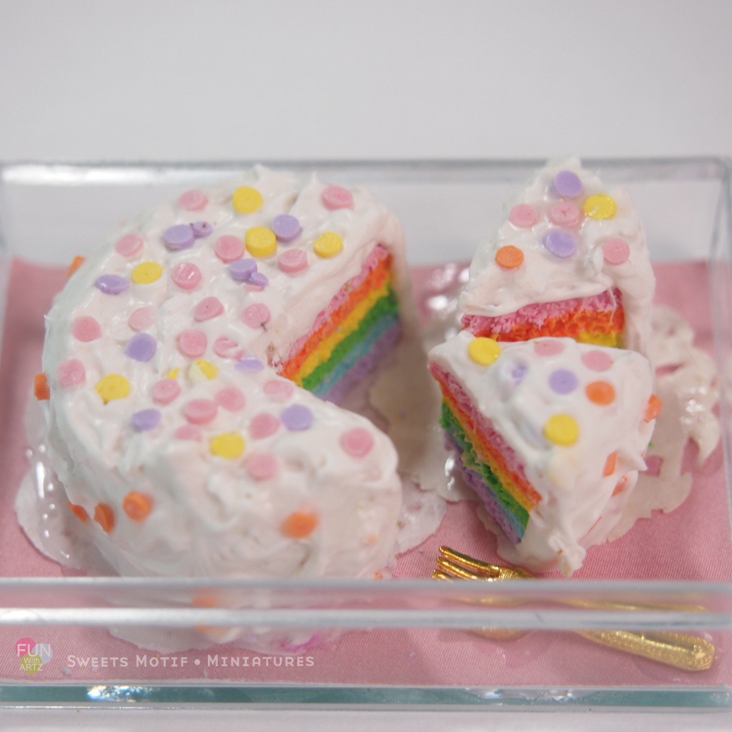 Dollhouse Display Polymer Clay Rainbow Cake
