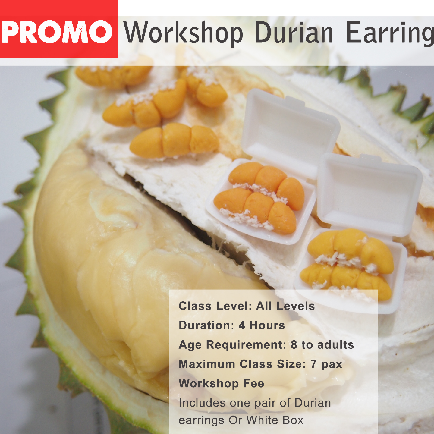 Workshop-Miniature Clay Durian or Earrings