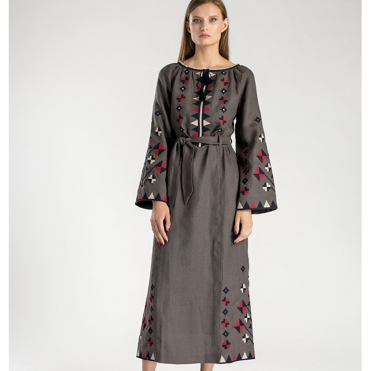 Long grey embroidered dress with a belt ETHNO5