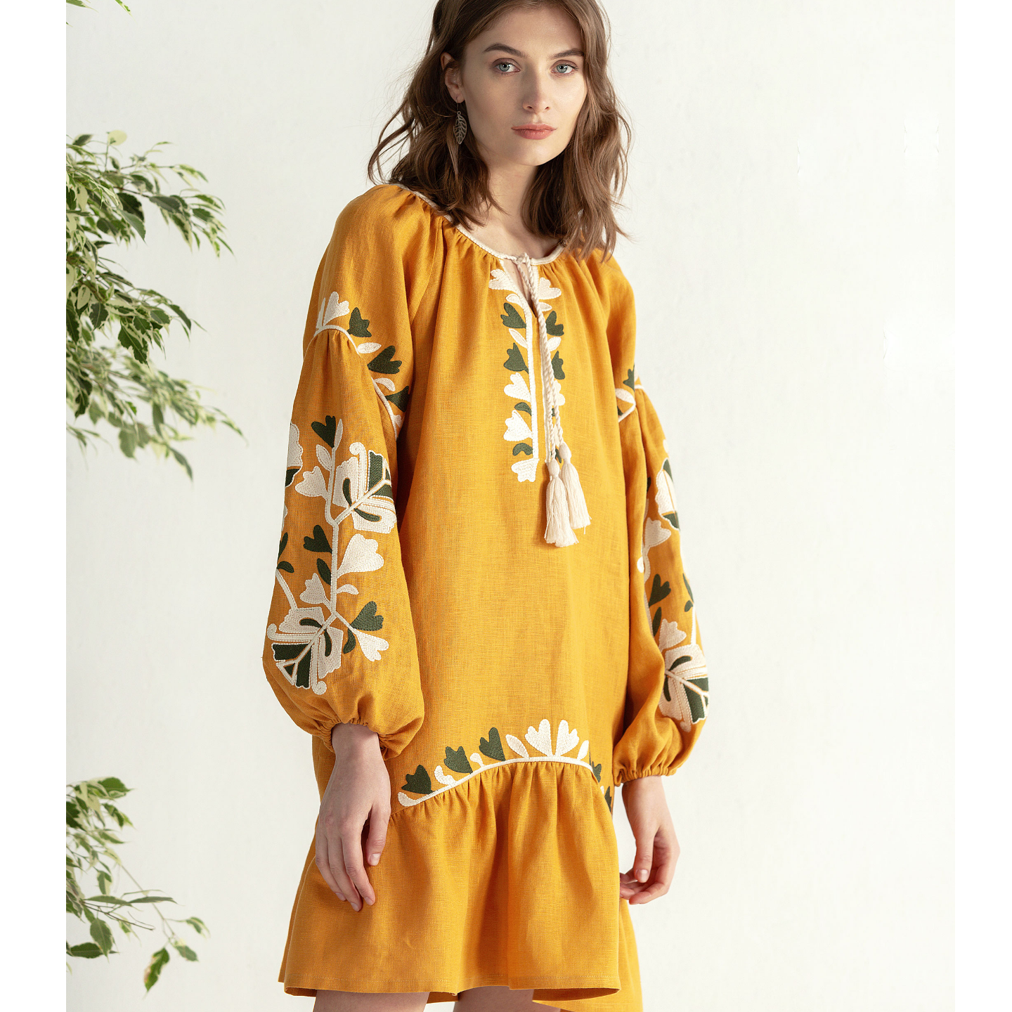 Yellow midi dress with embroidery Jungle