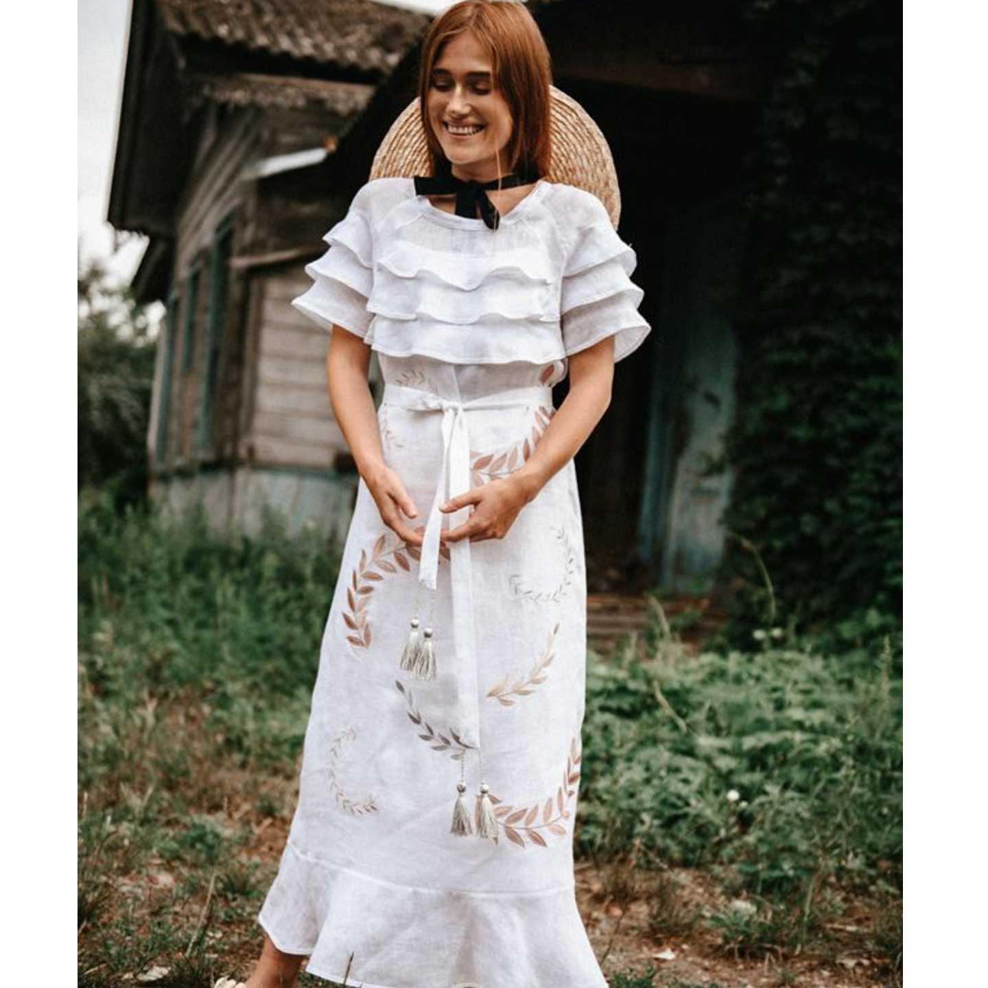 White summer linen dress with short sleeves and frills Verba