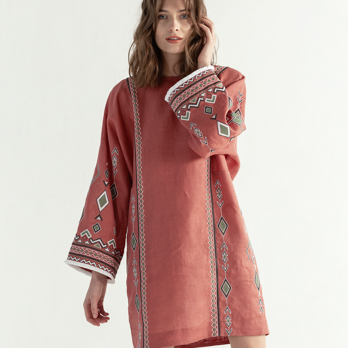 """Light terracotta dress with geometric embroidery """"Africa"""""""