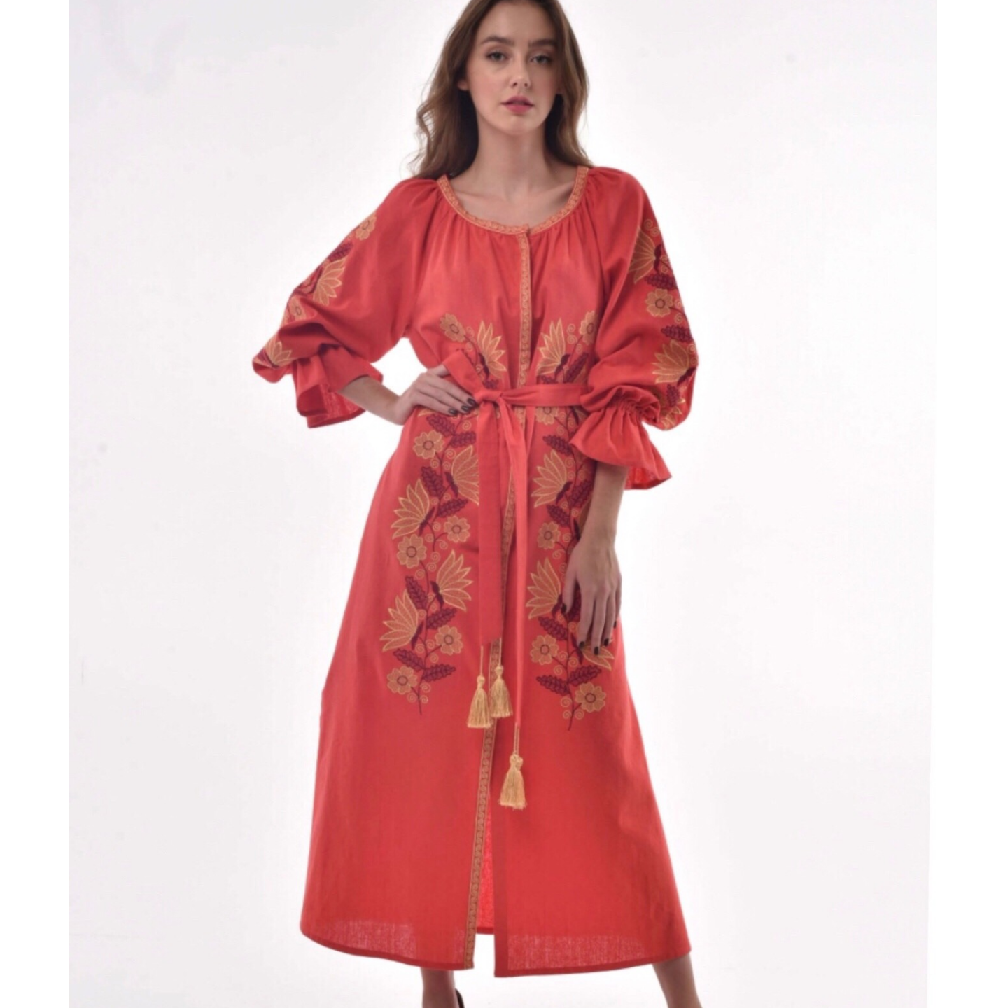 """Coral linen dress with floral embroidery and belt with silk tassels """"Muse"""""""