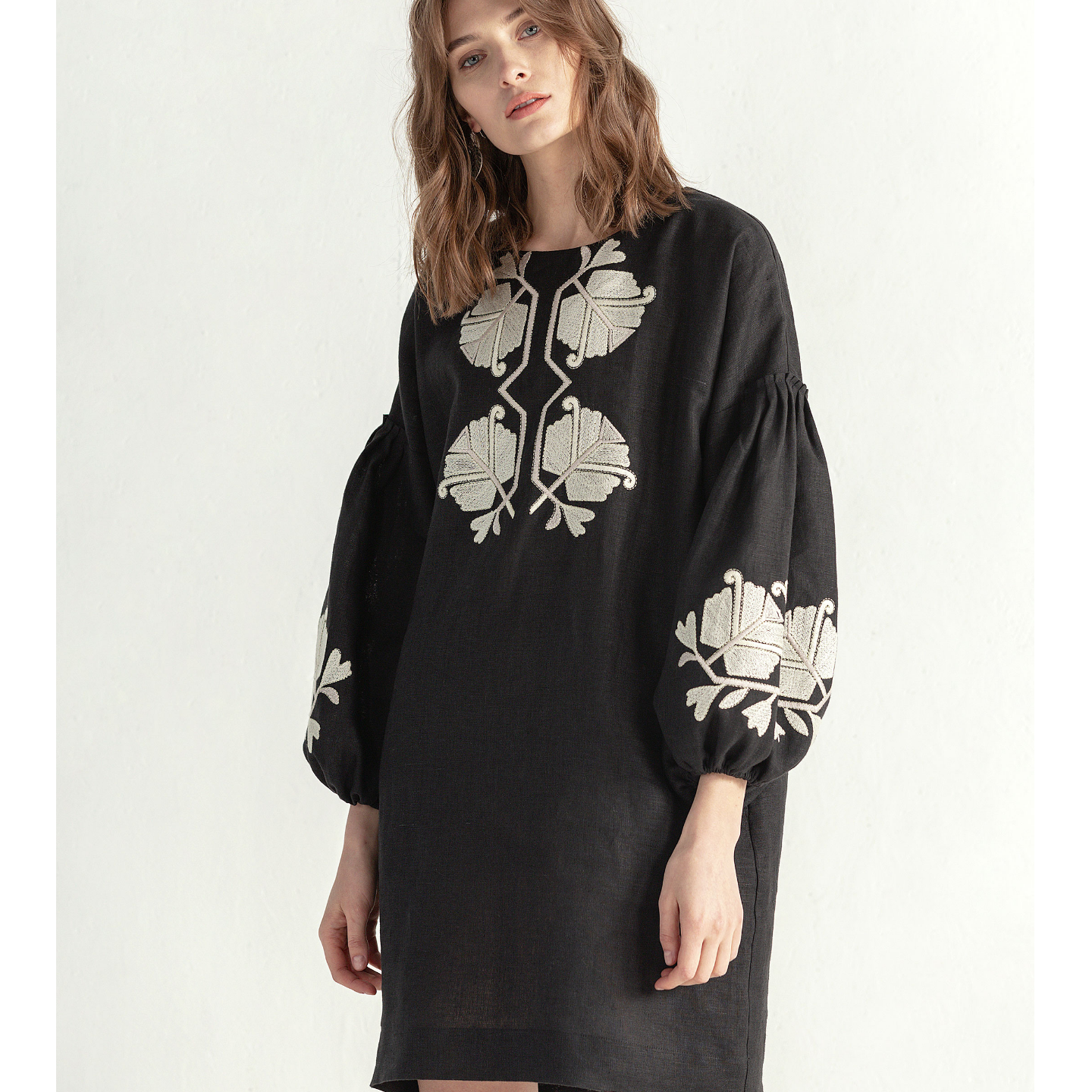 """Black linen dress with floral embroidery """"Muse"""" - NEW"""
