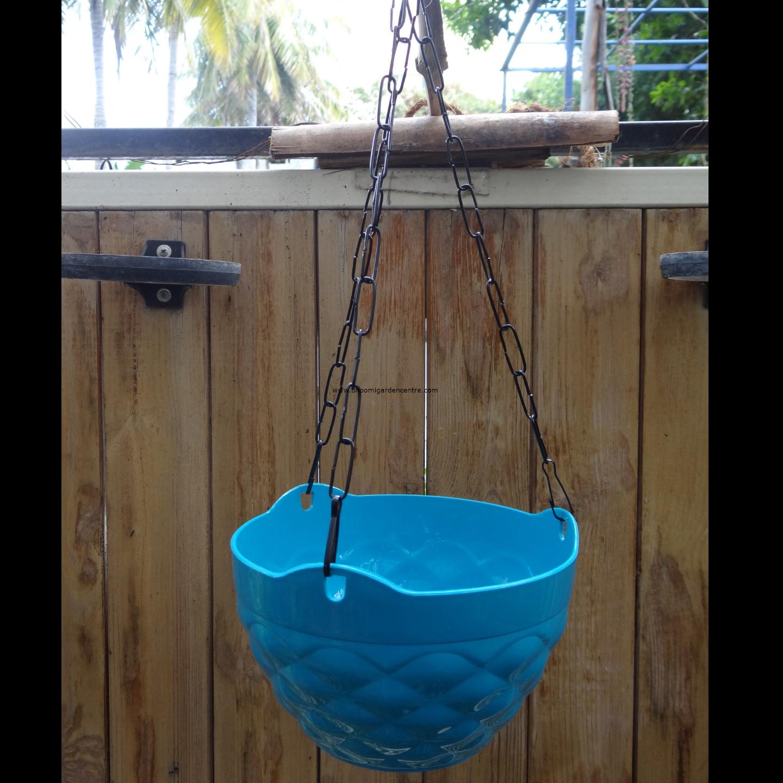 Diamond blue hanging plastic pot