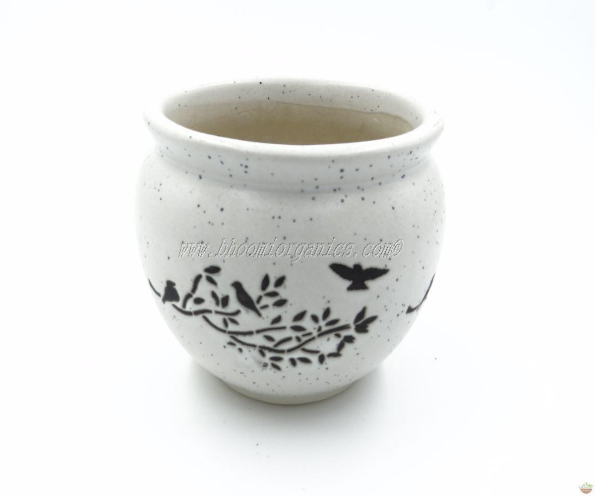 Matka white with birds print