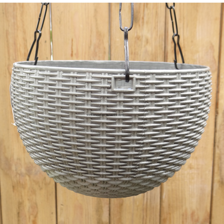 Rattan grey hanging plastic pot (7 . 1  inch)