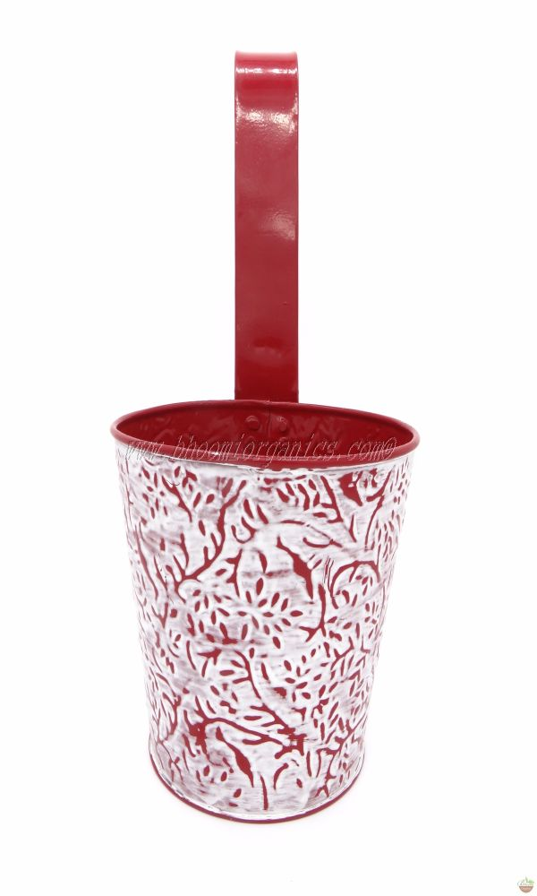 Metal hanging embossed red pot 6 inch