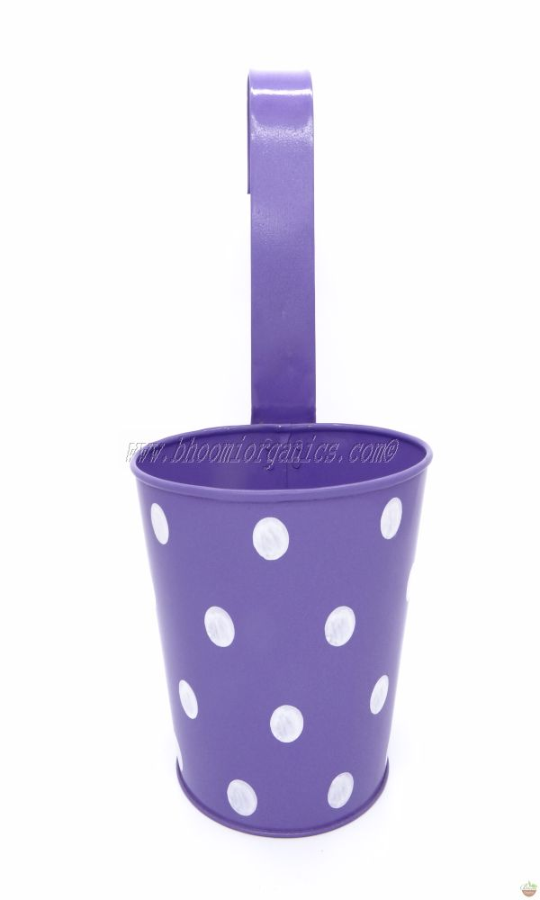 Metal hanging polka dots blue pot 6 inch