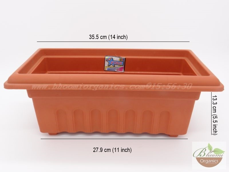 Rectangle Terracotta Plastic pot (12 inch)