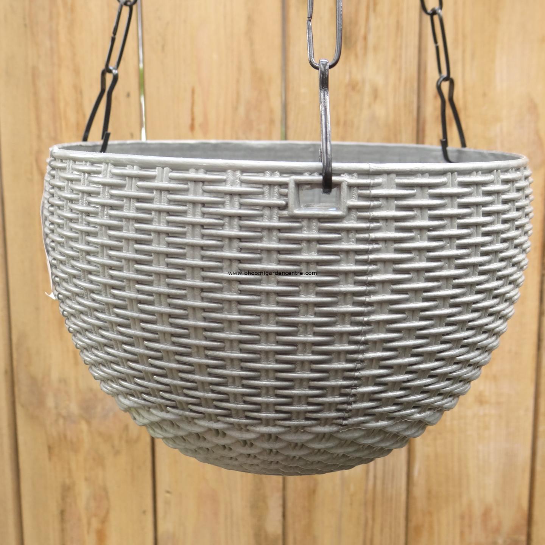 Rattan grey hanging plastic pot (8.6 inch)