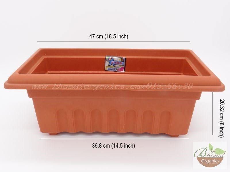 Rectangle Terracotta Plastic pot (16 inch)