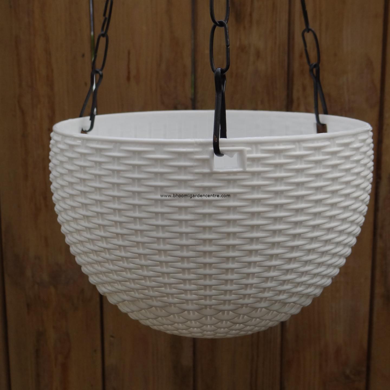 Rattan white hanging plastic pot (7 . 1  inch)