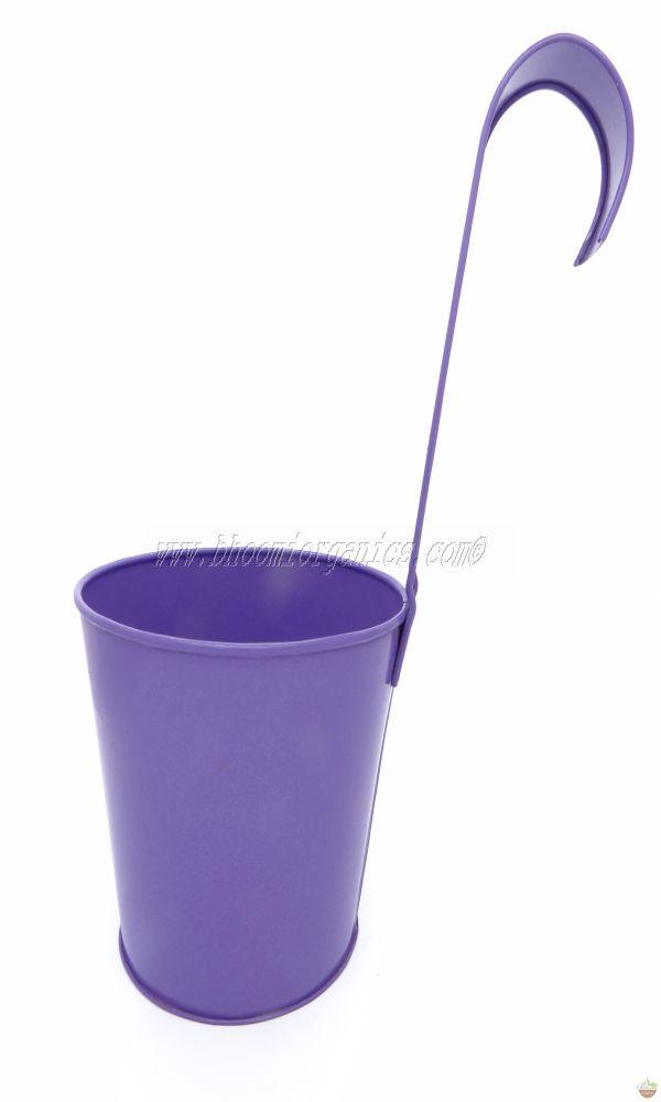 Metal hanging plain blue pot 6 inch