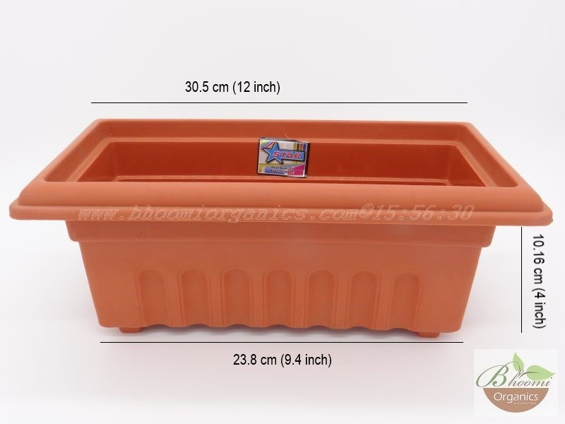Rectangle Terracotta Plastic pot (10 inch