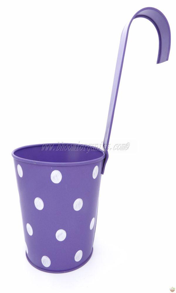 Metal hanging polka dots blue pot 6 inch