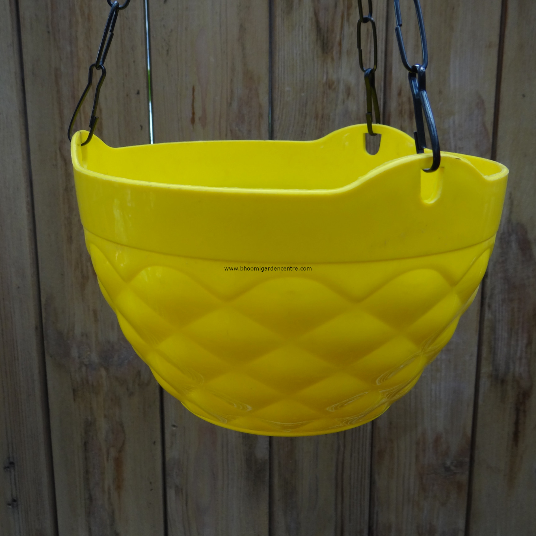 Diamond yellow hanging plastic pot