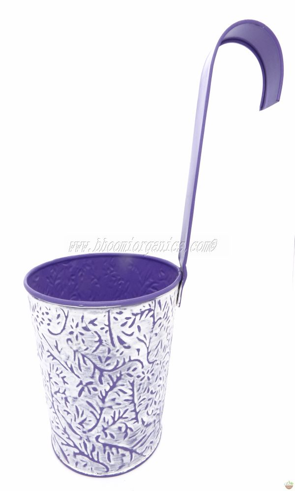 Metal hanging embossed blue pot 6 inch