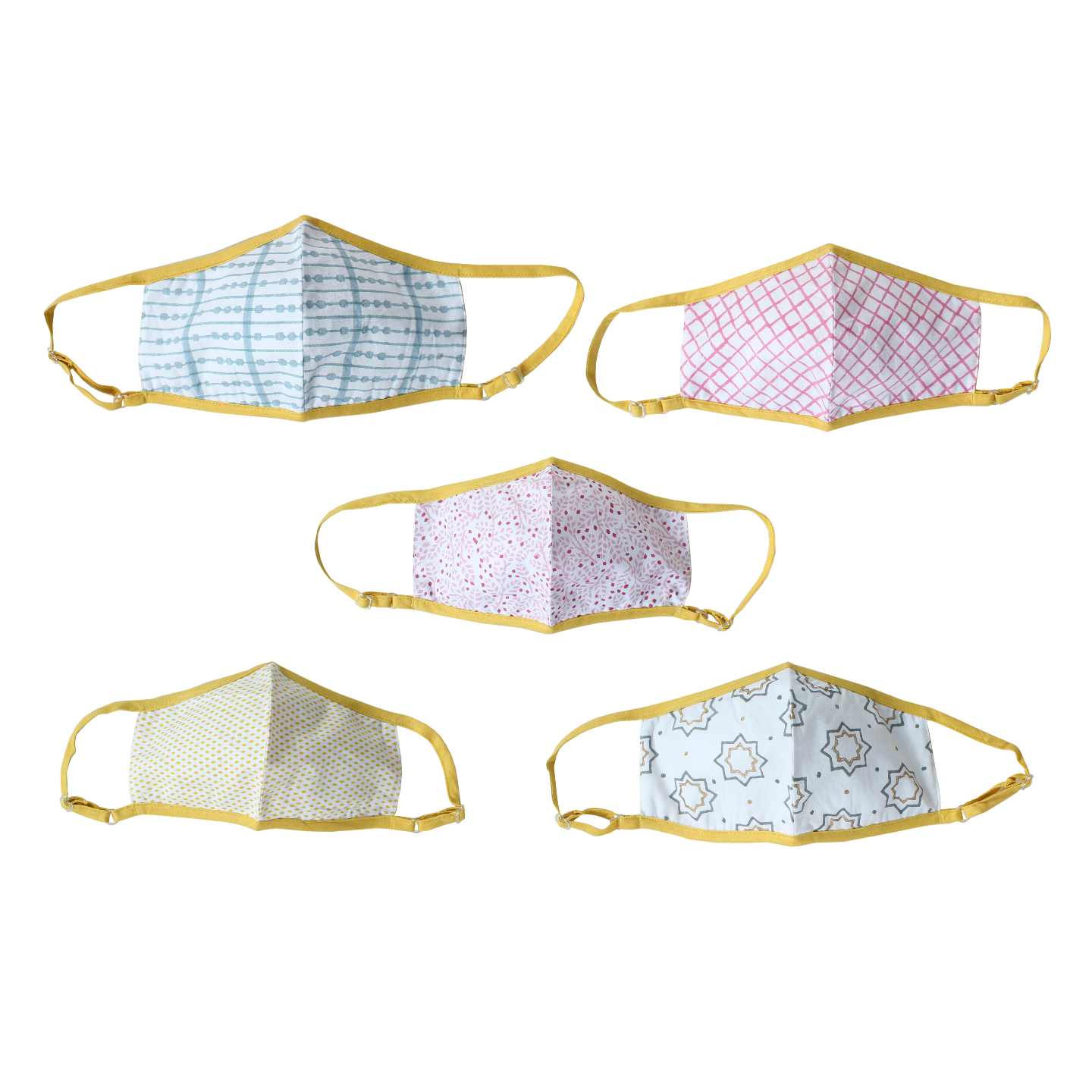 Yellow Multi printed Outdoor mask - Set of 5
