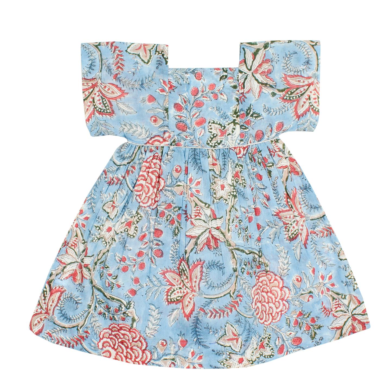 Lila blue n red Flower Dress