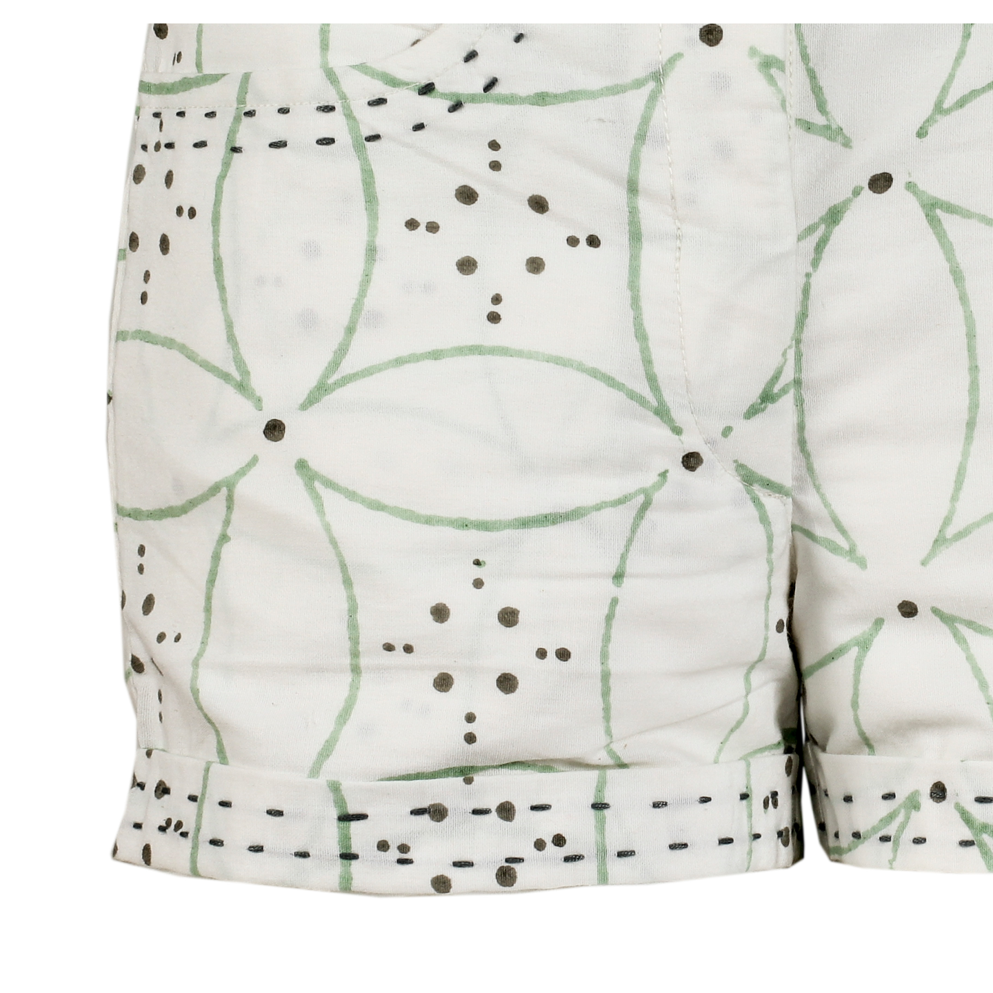 Moha Shorts - Big Flower- Green