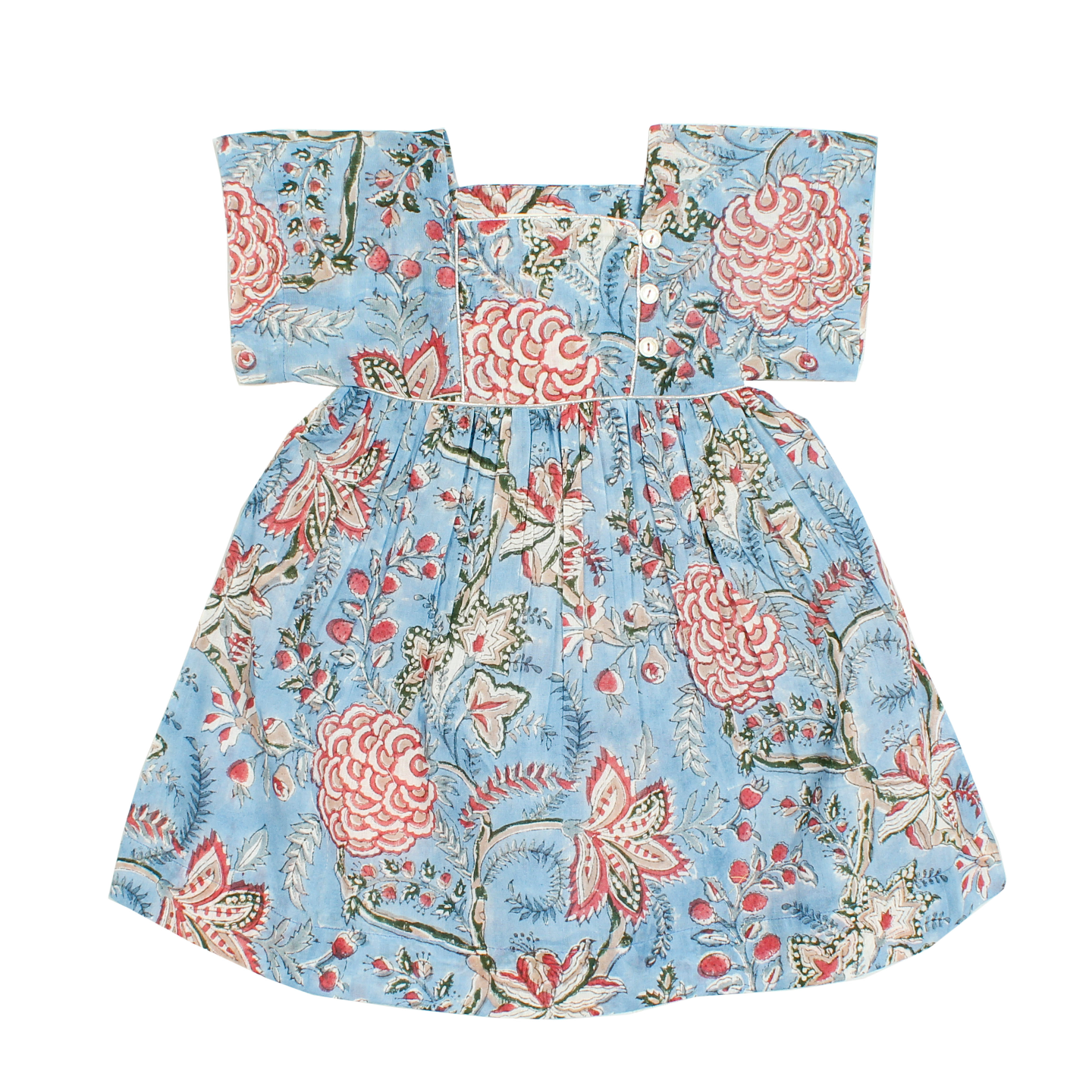 Lila blue n red Flower Dress