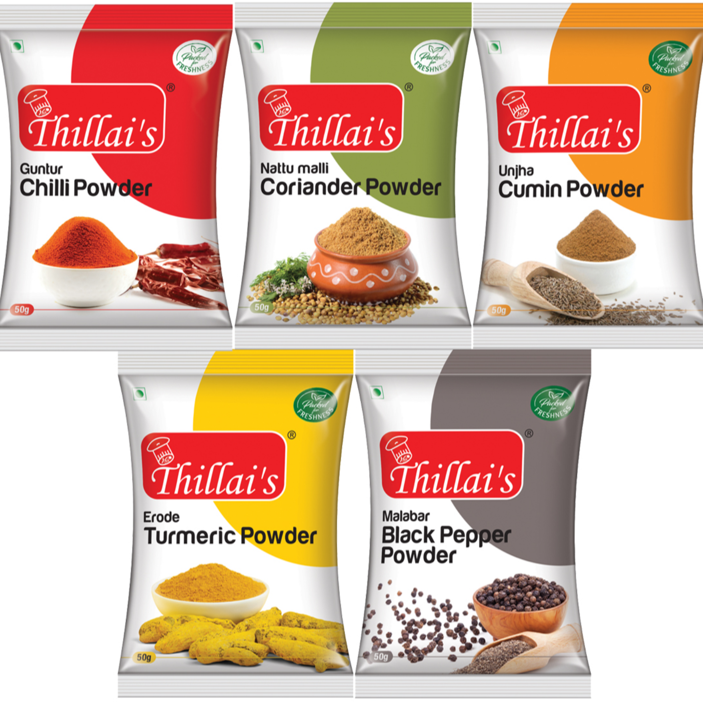 Thillais Pure Spice Combo-(Pack of 5)  (Excl GST)