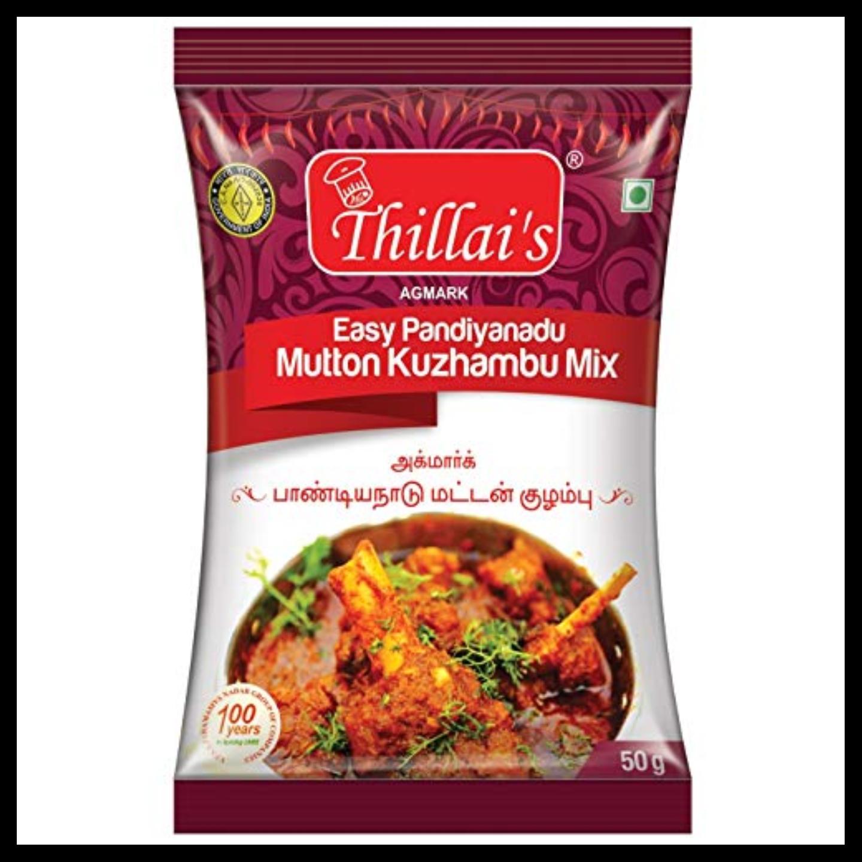 Thillais Mutton Masala Combo-Easy Madurai Mutton fry Masala,Easy Pandiyanadu Mutton Kuzhambu Mix,Easy Virudhunagar Salna Mix