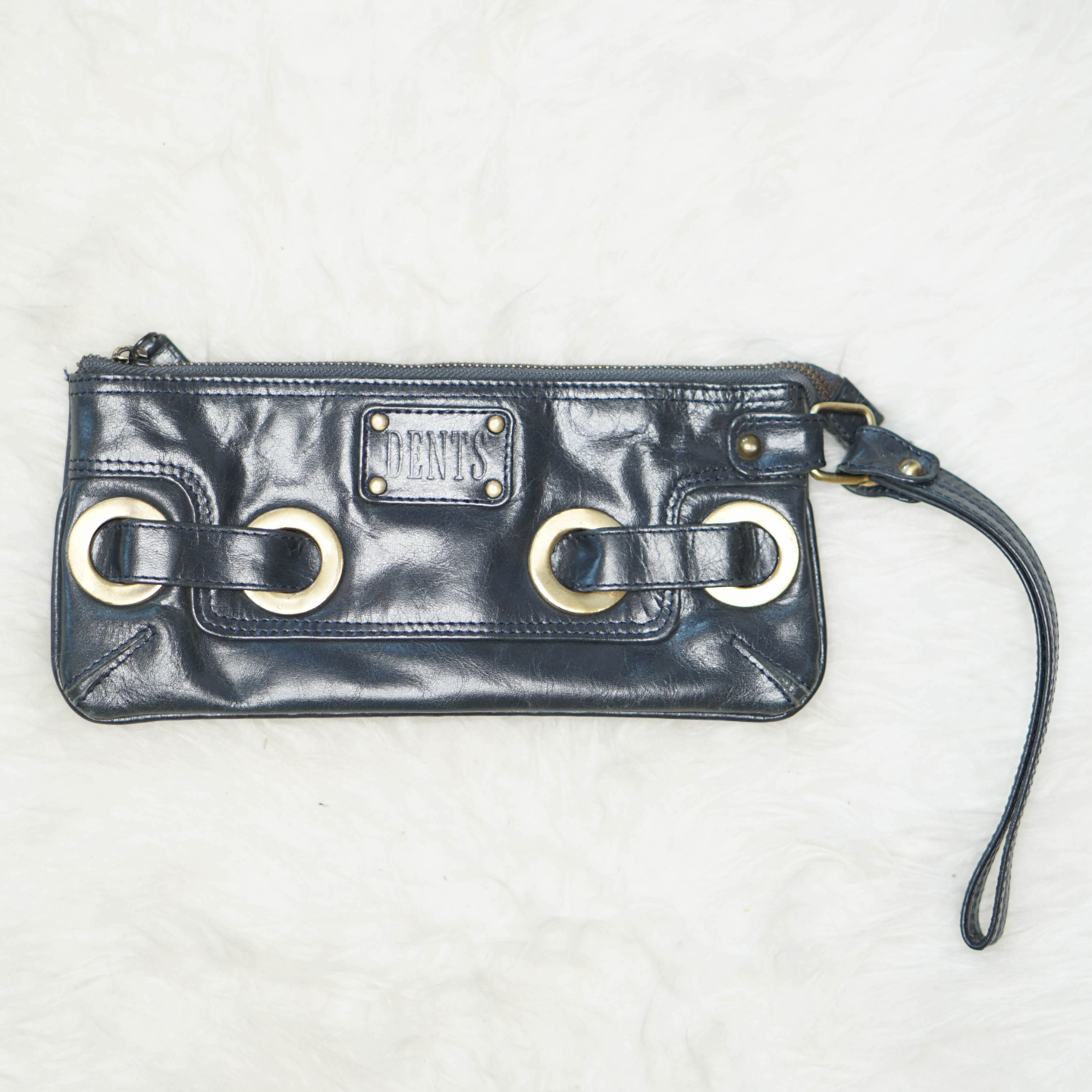 Vintage DENTS Navy Wristlet Clutch