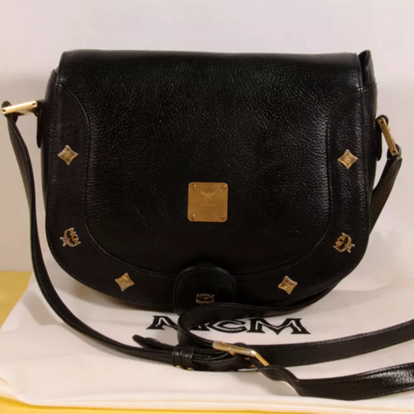 MCM Vintage Black Leather Crossbody