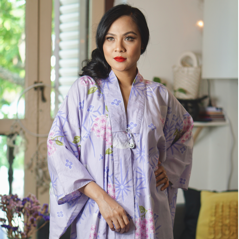 Purple Hana Kimono Kurung Set