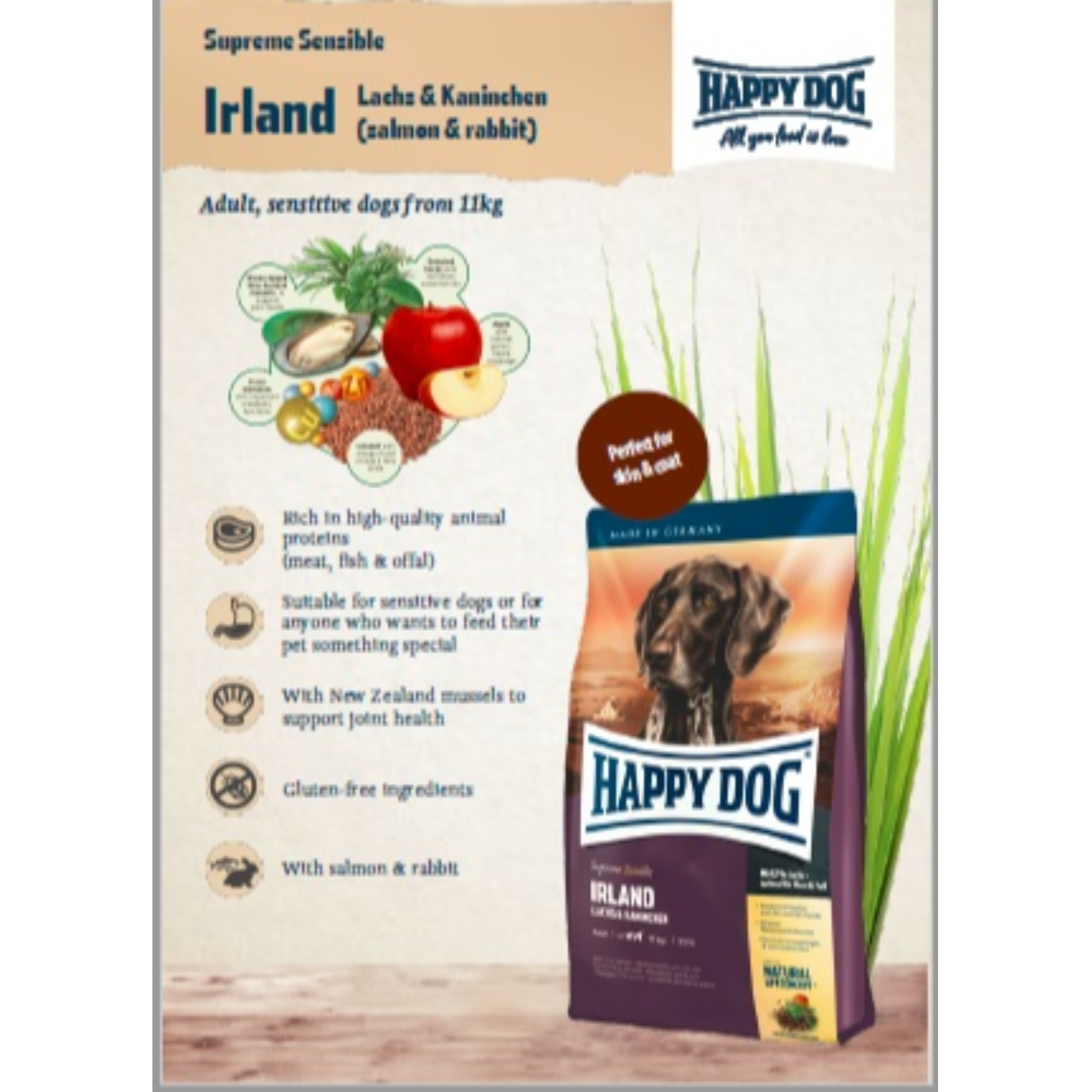 Happy Dog Adult Supreme Sensible - Ireland. Salmon & Rabbit - 4Kg x 03 bags
