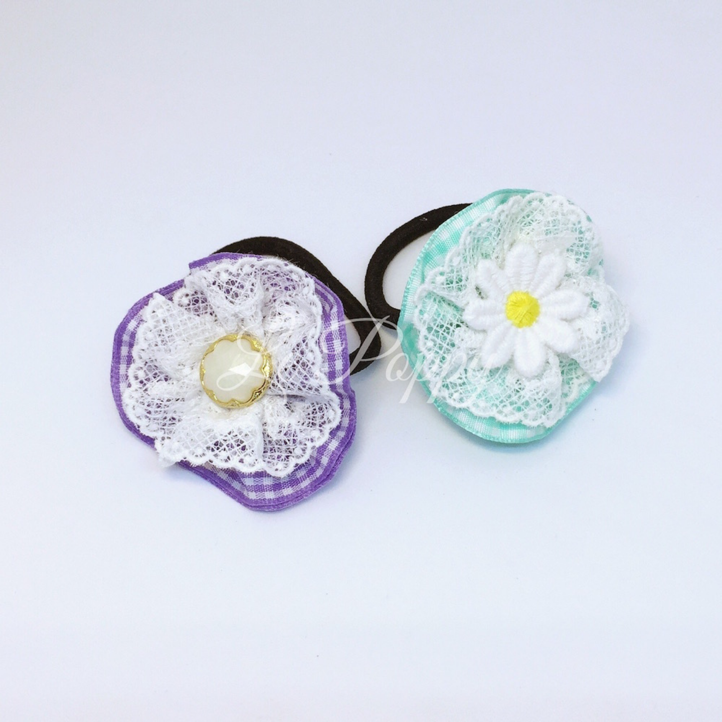 Green and Purple Hair Tie Set