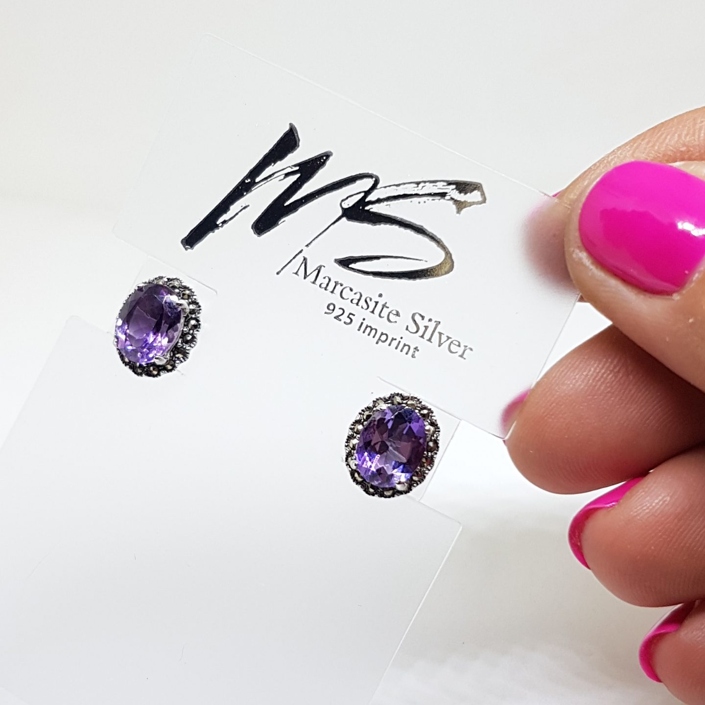 Classic Oval Studs Amethyst *HE872