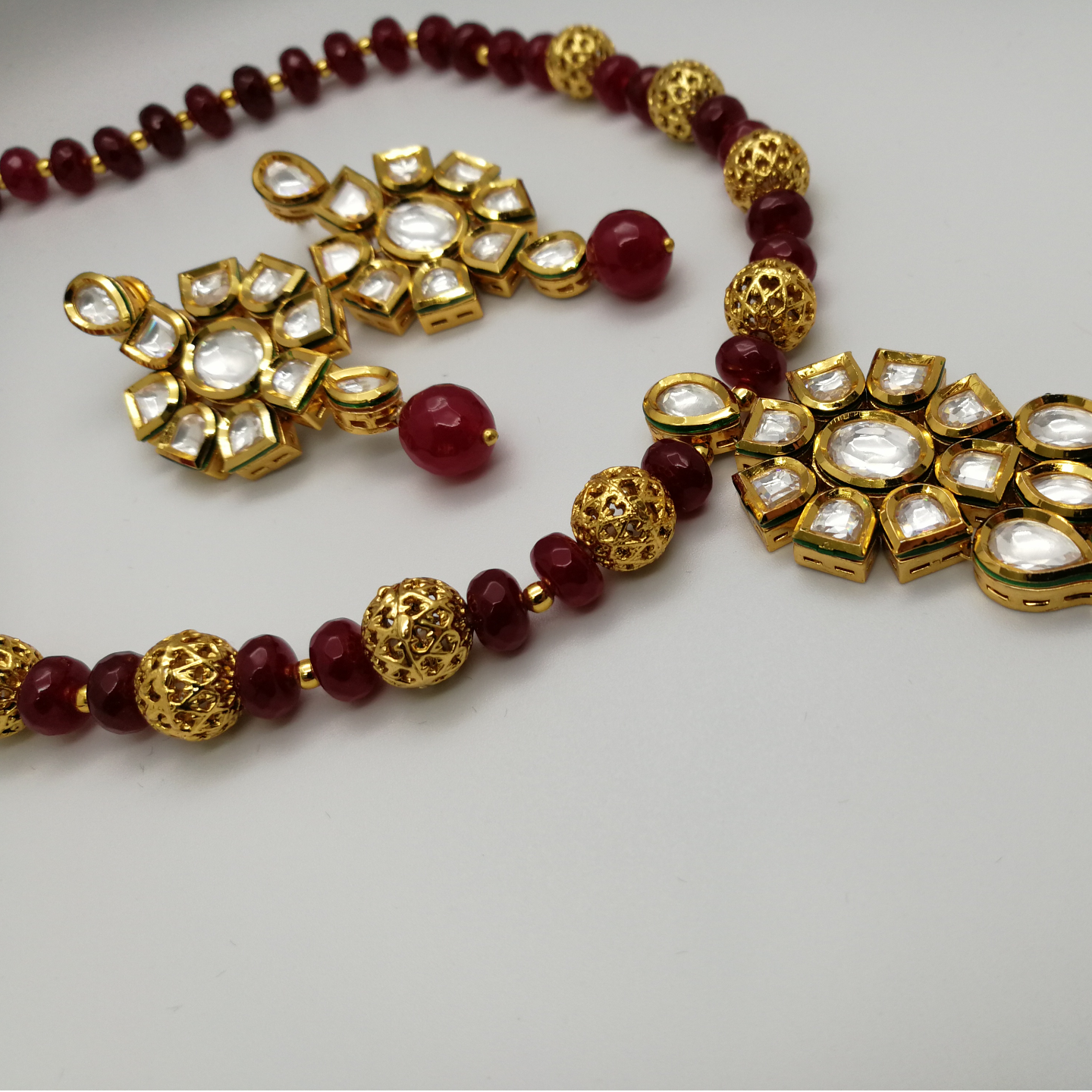Kubdan With Meenakari And Ruby Beads Necklace Set
