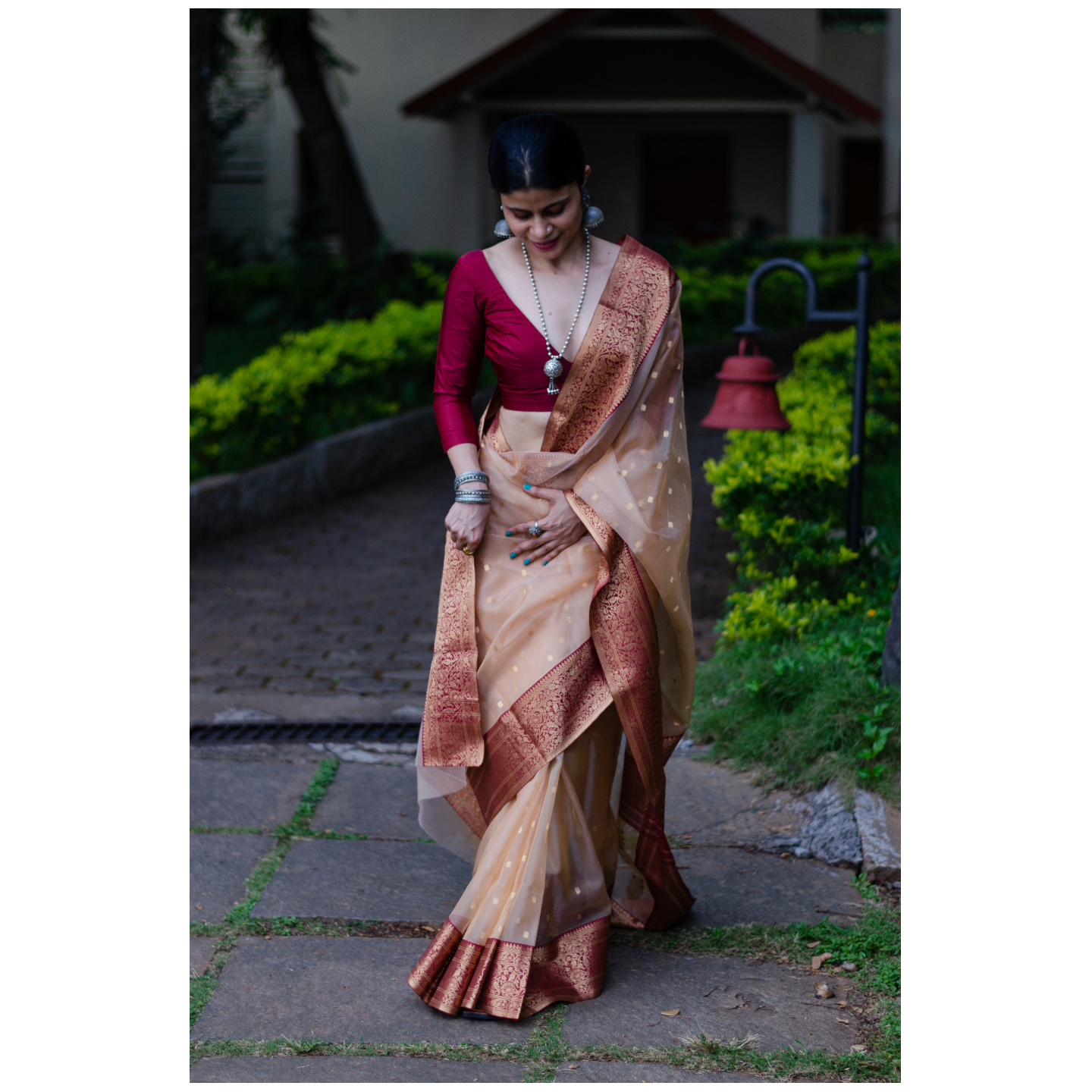 Handloom nakasi border resham silk chanderi saree.