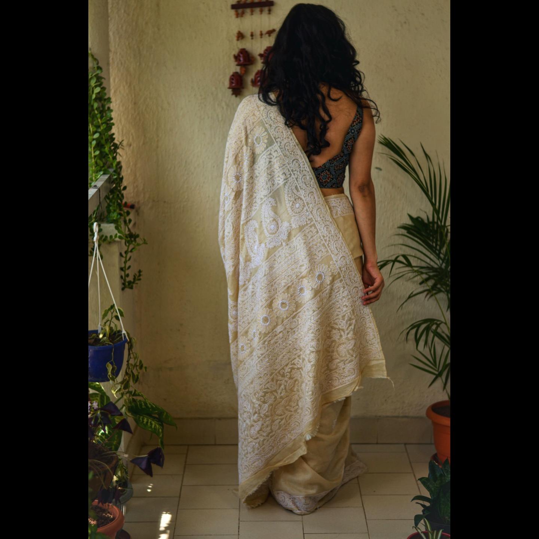 Handembroidered chikankari tussar silk Saree