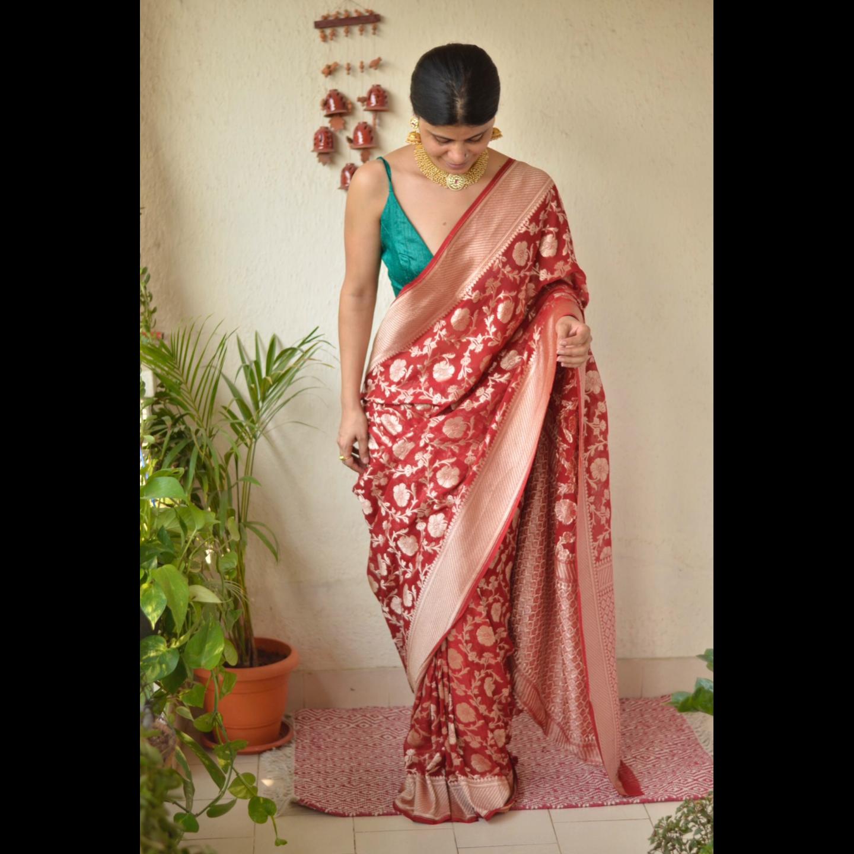 handwoven kadhiyal single jaal  motif Khaddi Georgette banarasi sari