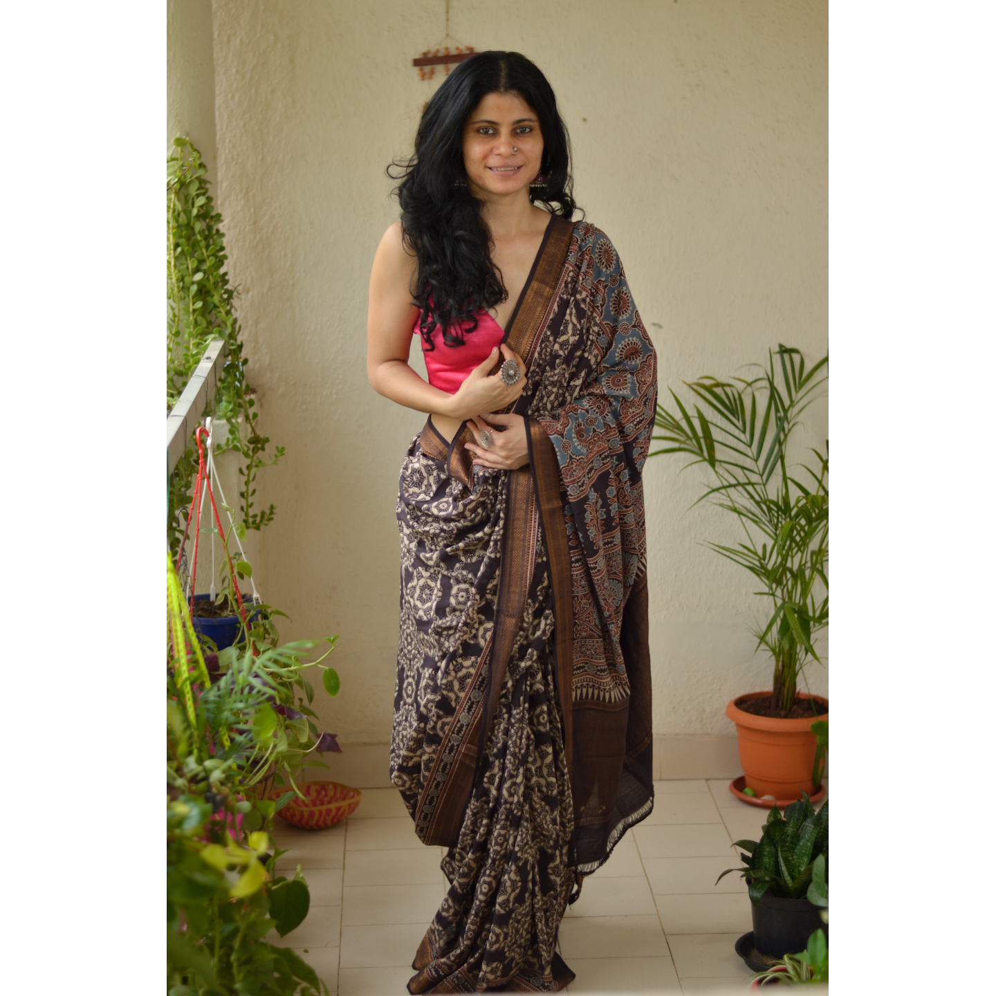 handmade natural dyed mangalgiri cotton Ajrakh  saree.