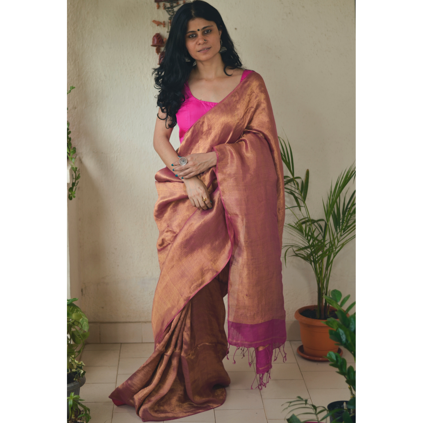 Handloom twill linen saree blended with tissue