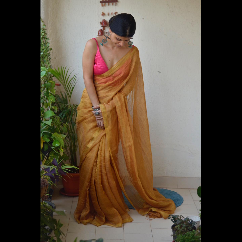 Handwoven Jari blended  linen saree with jari border