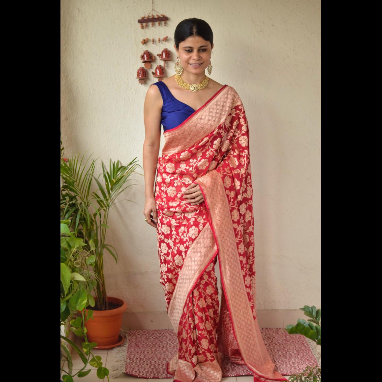 Handwoven kadhiyal jari jal motif Khaddi georgette Banarasi Sarees