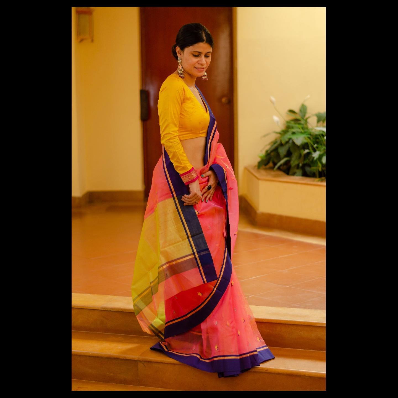 Handloom soft resham  chanderi silk  saree
