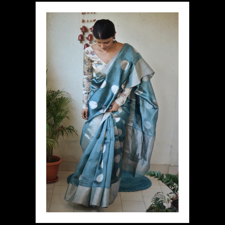 Handwoven Chanderi pattu  silk saree with jari motif