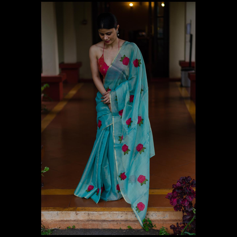 Handloom soft  tissue silk chanderi saree with hand embroidered.