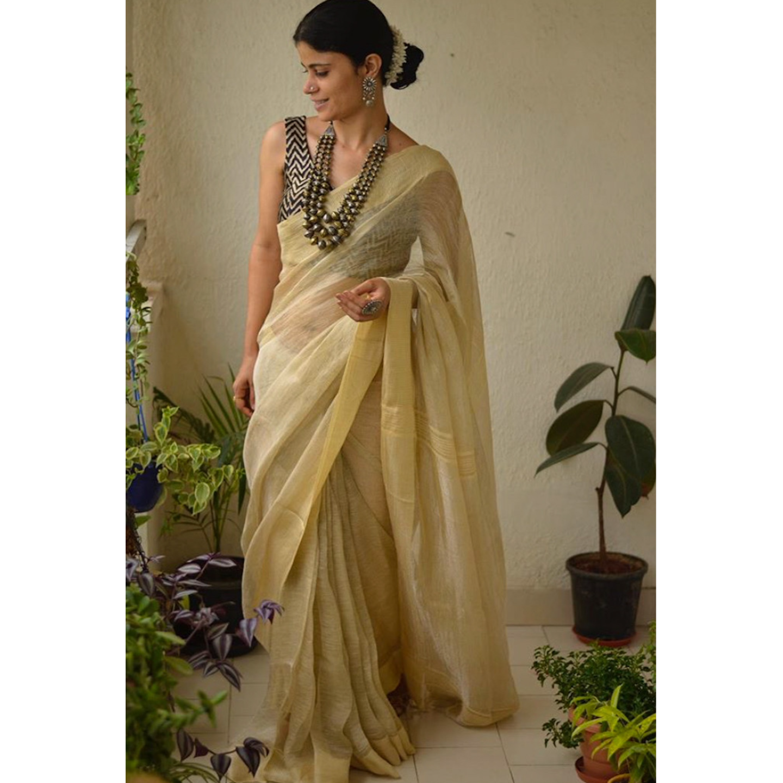 Handloom Linen jari blended saree