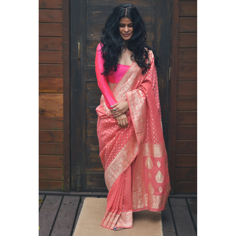 Handloom cut work  bootis  jari motifs moonga silk banarasi saree.